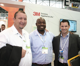 Jaco Combrinck, respiratory business manager MEA at 3M South Africa (extreme right), hosted two Namibian visitors on his stand: Gielie Loubser, branch manager at Cymot, and Penda Ickua, brand manager: Namibia at Cymot.